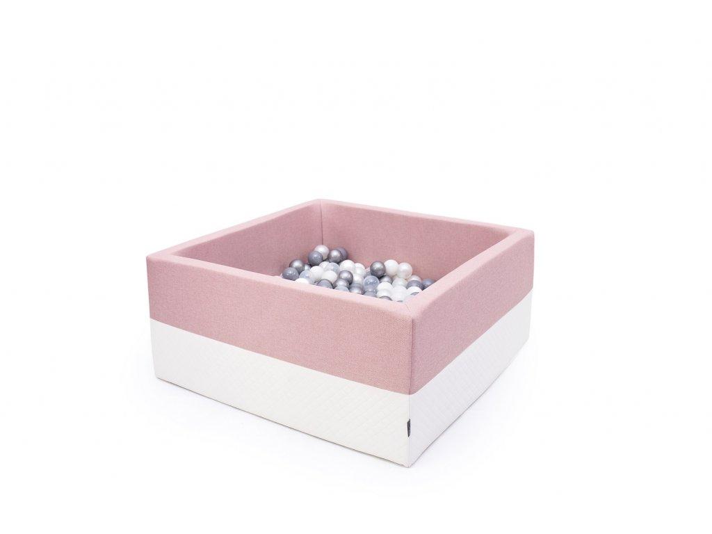 suchý bazén eco čtverec pudrově růžový
