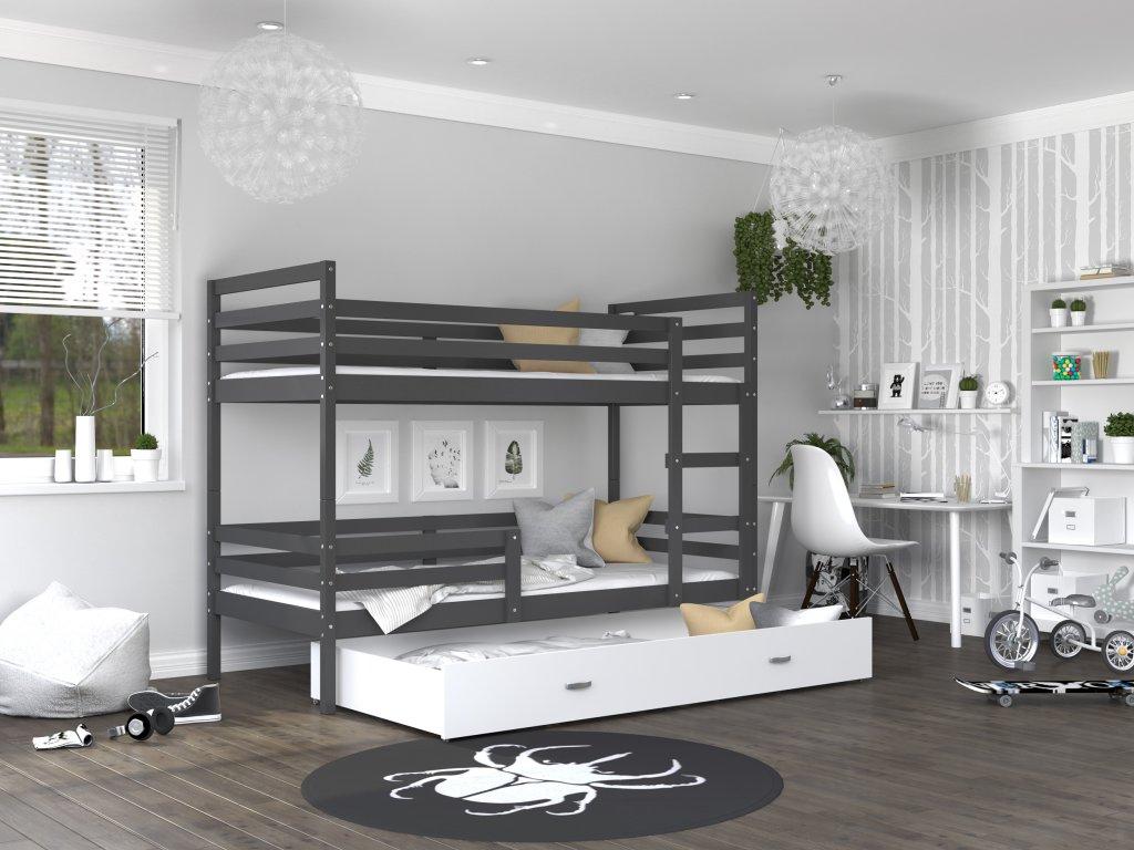 patrová postel s úložným prostorem šedá bílá (3)