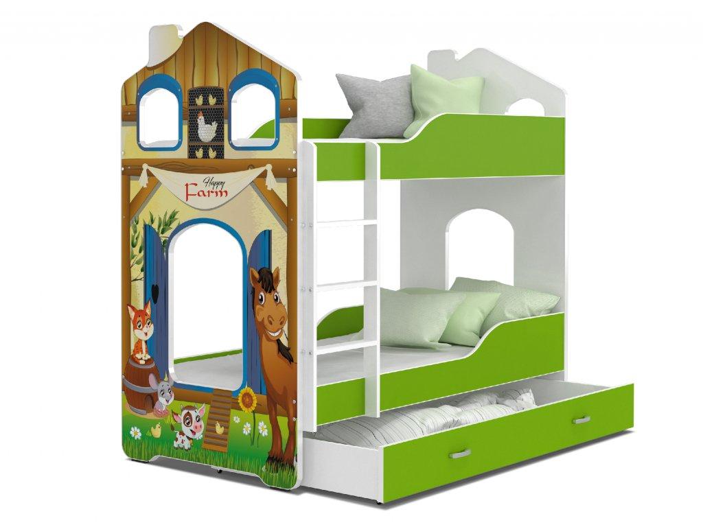 Dětská patrová postel s obrázkem a úložným prostorem farma