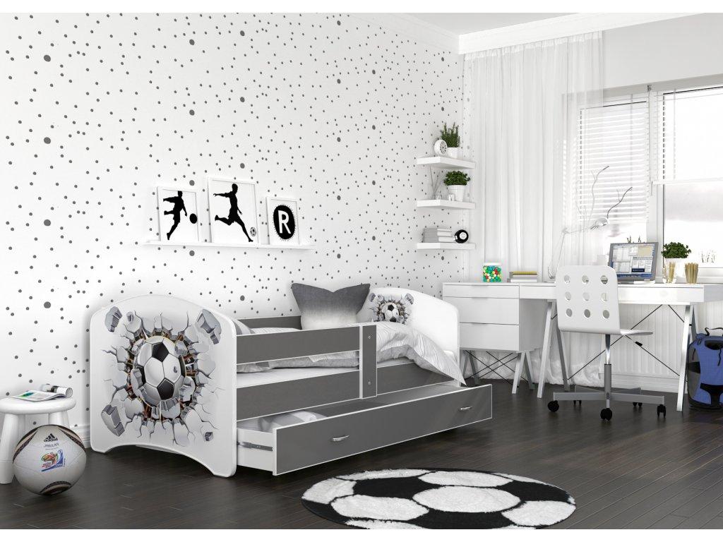 dětská postel s obrázkem a úložným prostorem fotbalový míč šedý