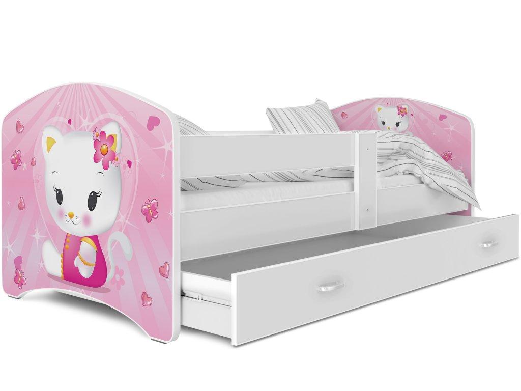 dětská postel s obrázkem a úložným prostorem bílá kočička bílá (2)