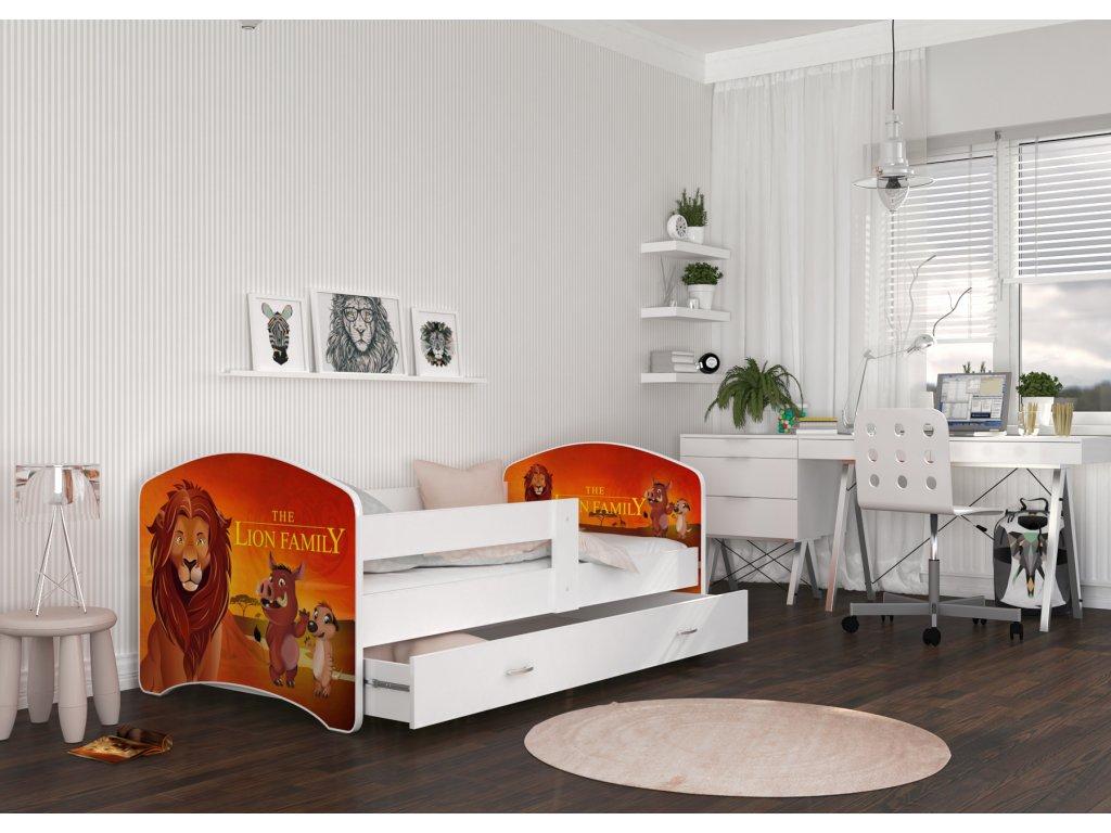 dětská postel s obrázkem a úložným prostorem lví král (2)