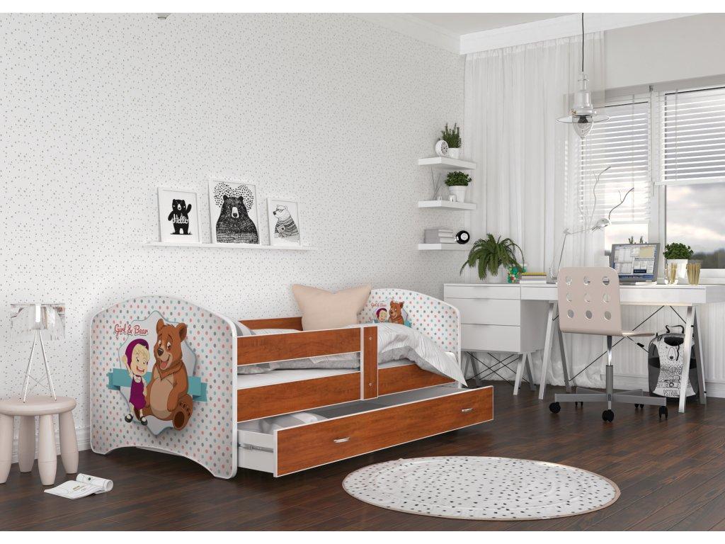 dětská postel s obrázkem a úložným prostorem máša a medvěd foto