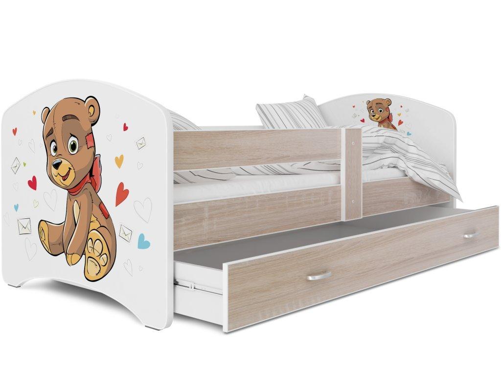 dětská postel s obrázkem a úložným prostorem medvídek