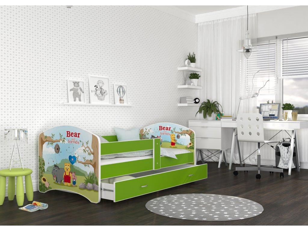 dětská postel s obrázkem a úložným prostorem medvídek Pů pokoj
