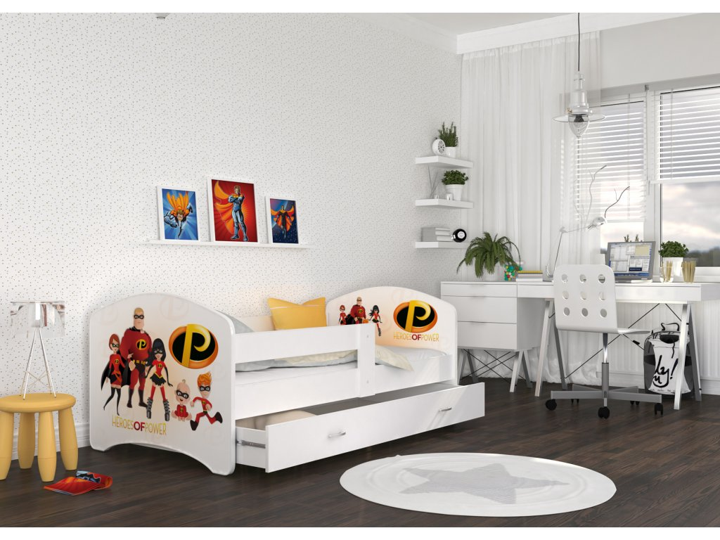 dětská postel s obrázkem a úložným prostorem superhrdina úžasňákovi foto pokoj