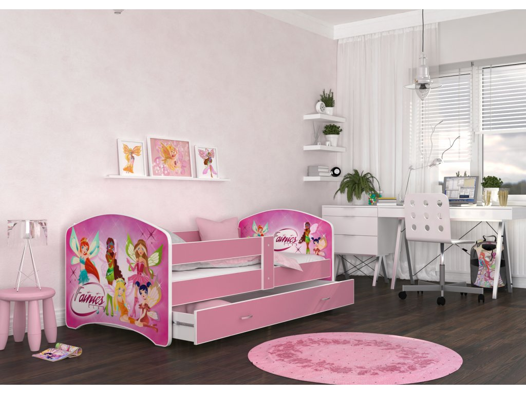 dětská postel s obrázkem a úložným prostorem winx víly pokoj foto