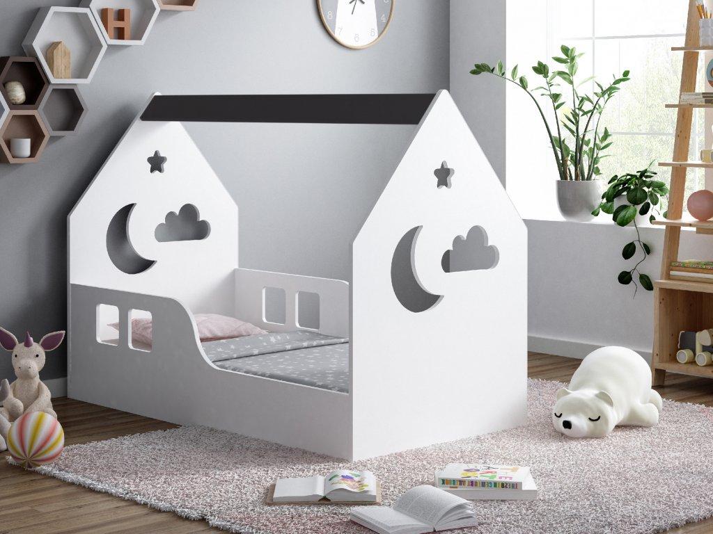 dětská domečková postel s výřezem mráček grafit