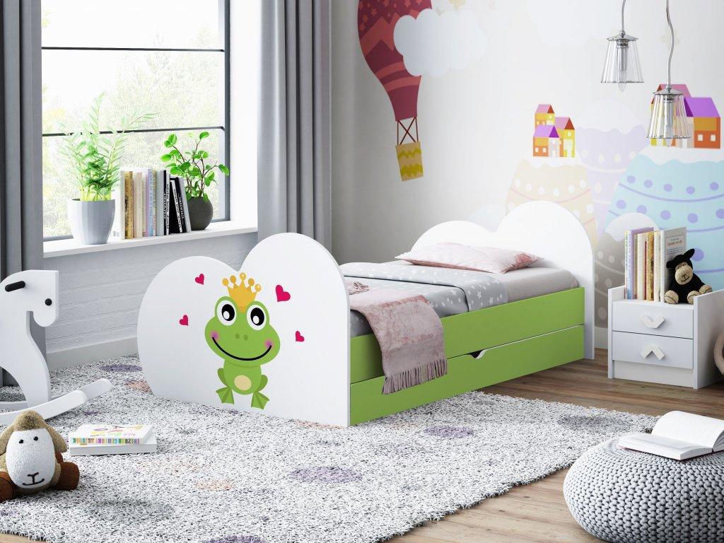 Dětská postel s úložným prostorem zelená žabka 01