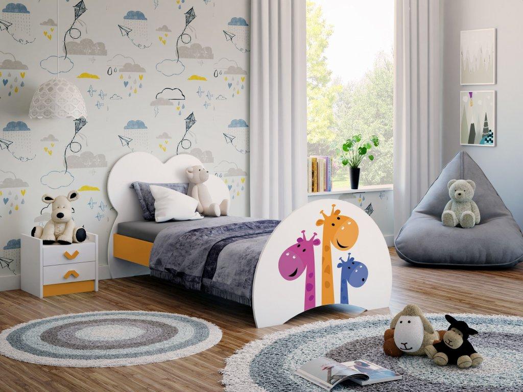 01 dětská postel s obrázkem žirafa oranž.