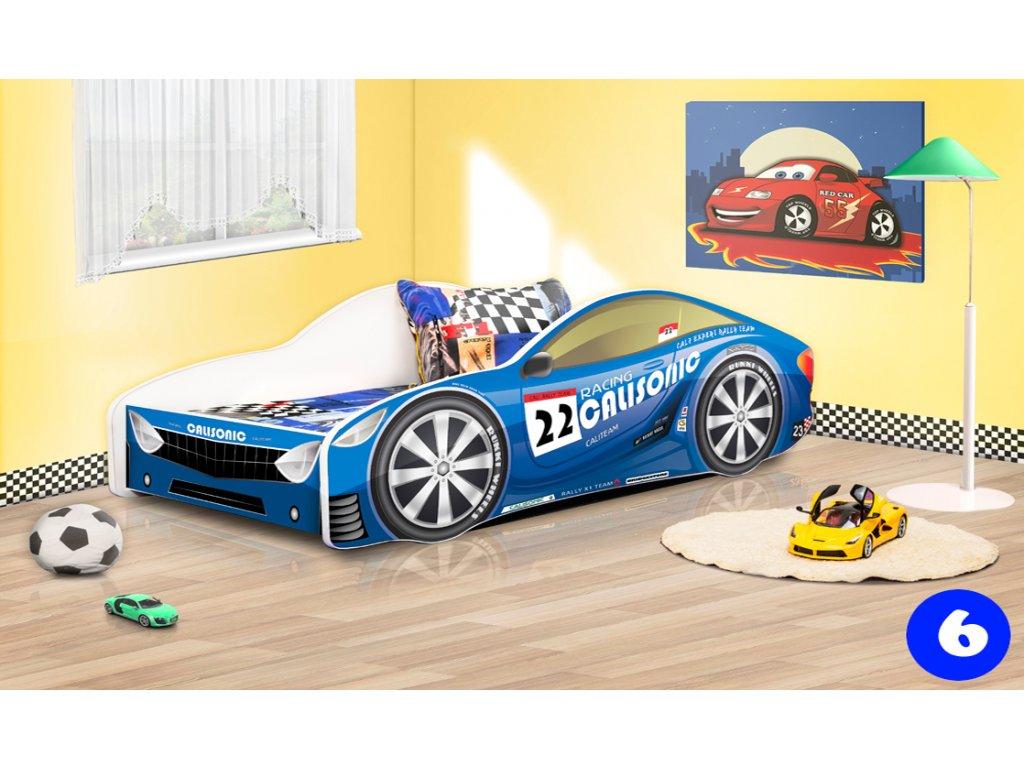 Dětská auto postel sportovní auto modré 6 + matrace zdarma