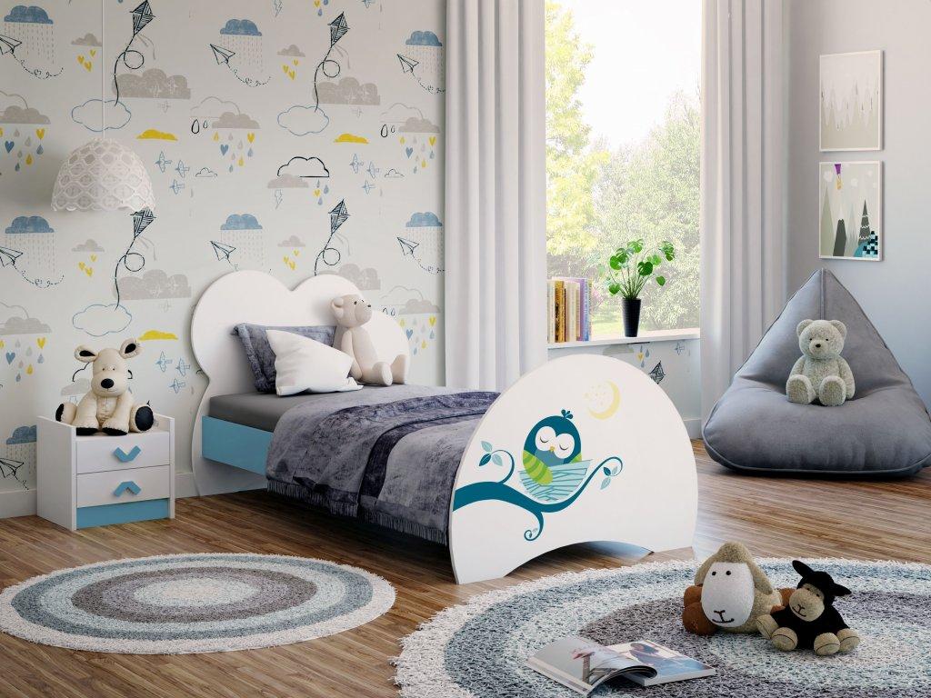 03 dětská postel s obrázkem modrá sovičky