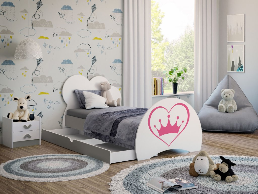 05 dětská postel s obrázkem a úložným prostorem šedá srdce korunka