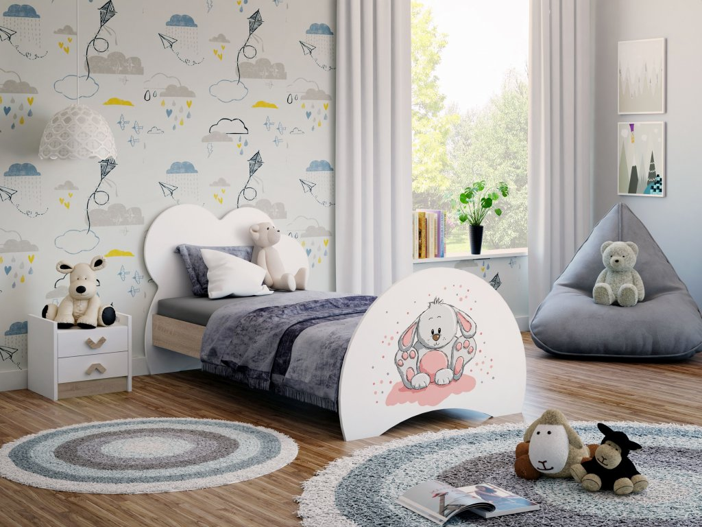 08 Dětská postel s obrázkem zajíček dub