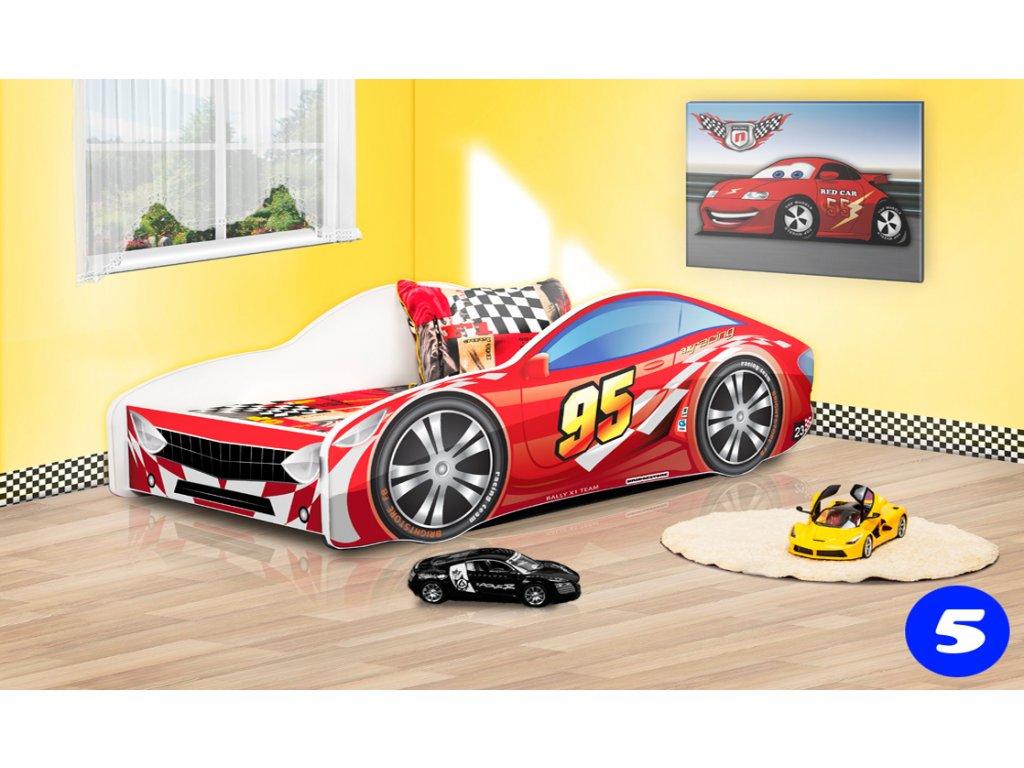 Dětská auto postel sportovní auto červené 5 + matrace zdarma