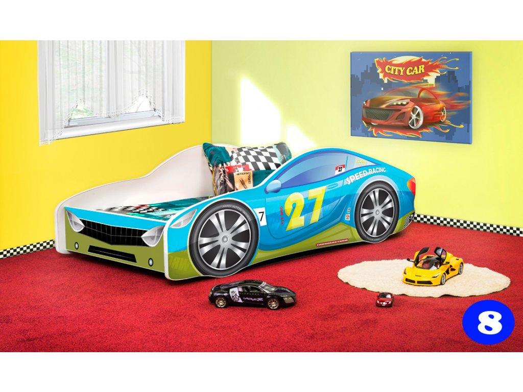 Dětská auto postel 8 modré auto + matrace zdarma