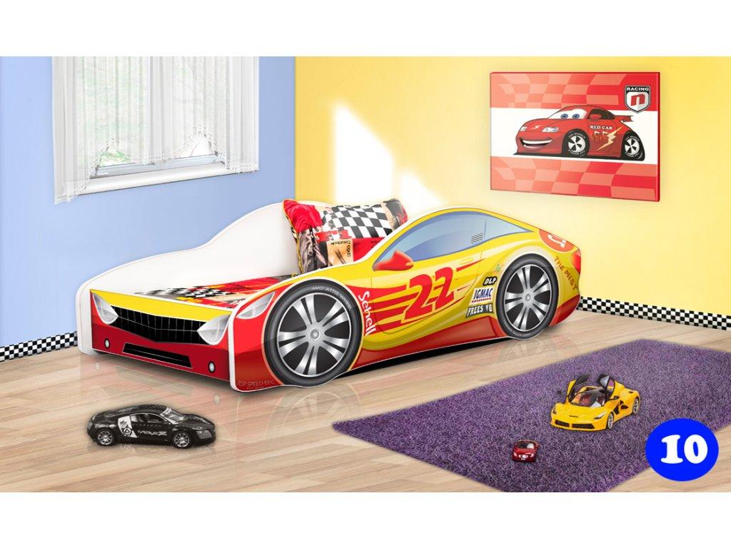 Dětská postel auto červeno žlutá 10 + matrace zdarma
