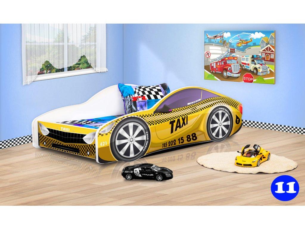 Dětská auto postel žluté taxi 11 + matrace zdarma