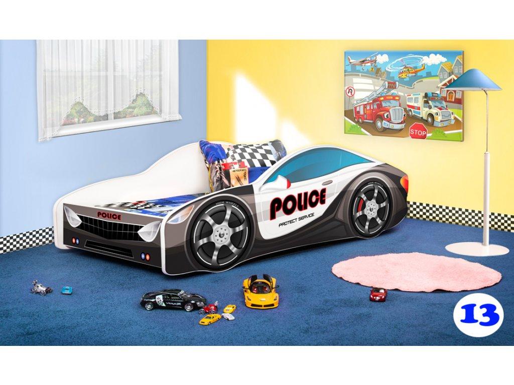 Dětská postel auto policie 13 + matrace zdarma