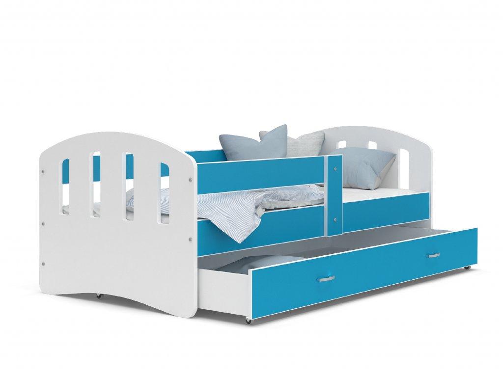 dětská postel s úložným prostorem bílá modrá