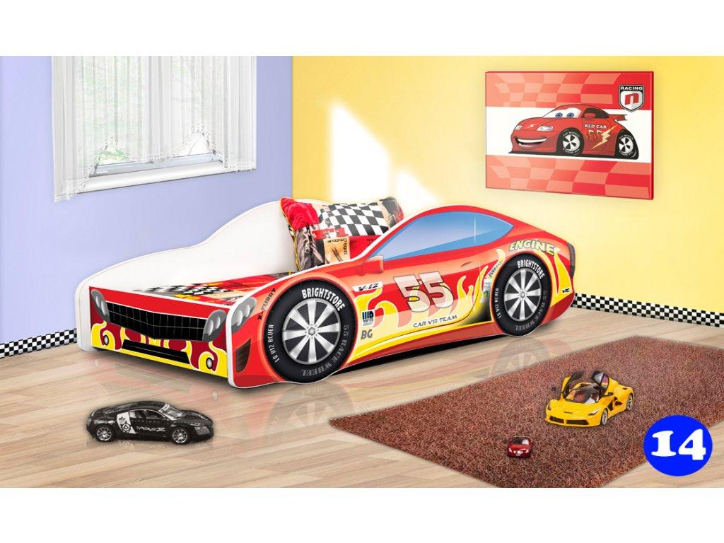 Dětská auto postel sportovní auto červené 14 + matrace zdarma