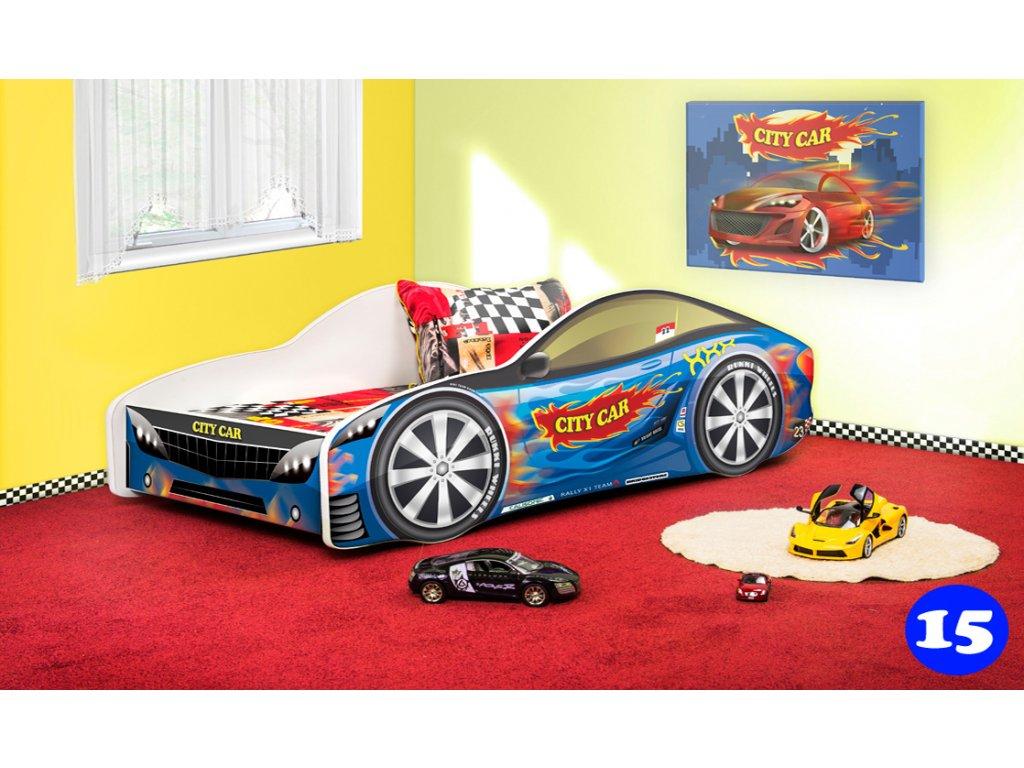 Dětská auto postel sportovní auto modré 15 + matrace zdarma