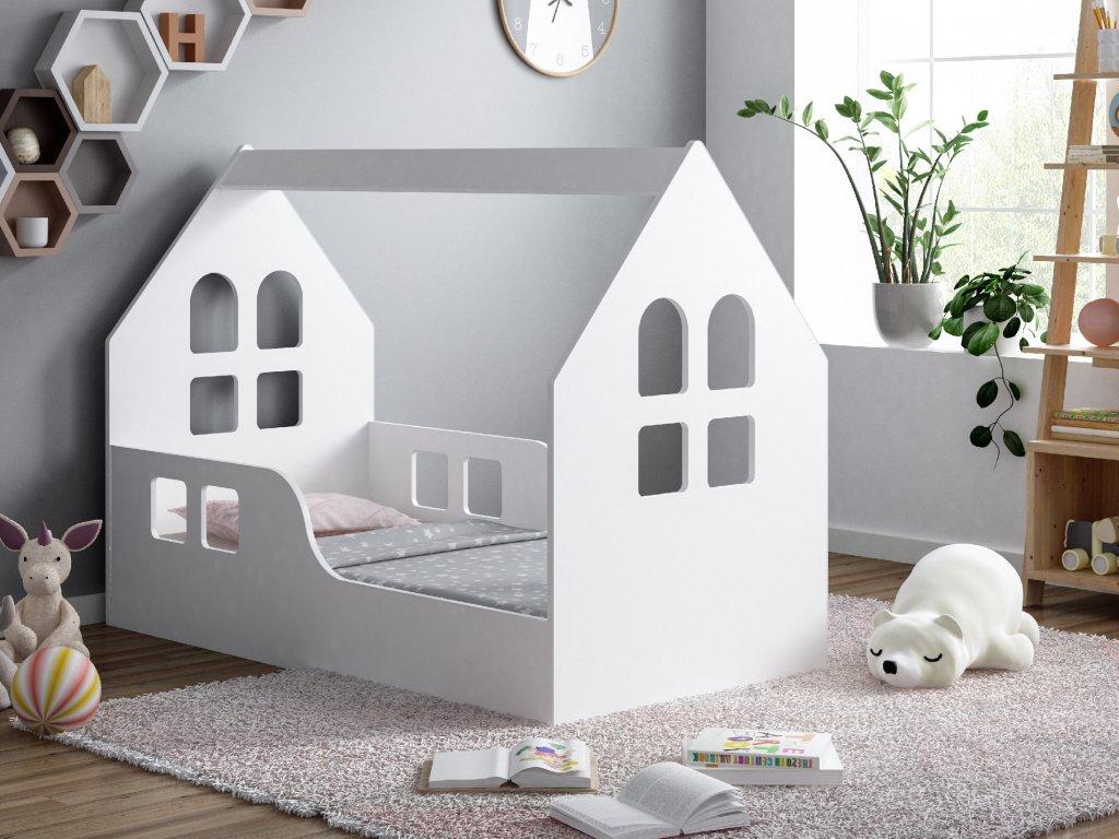 dětská domečková postel s výřezem okna 2 bílá