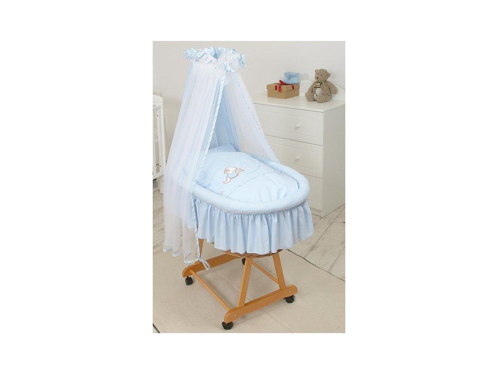 Proutěný košík pro miminko s kompletním vybavením Modrý klokánek
