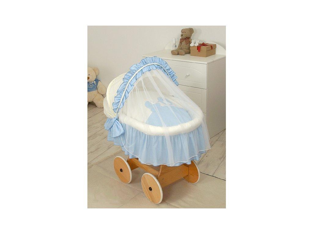 Proutěný košík s boudičkou pro miminko s kompletním vybavením Modrý ptáček