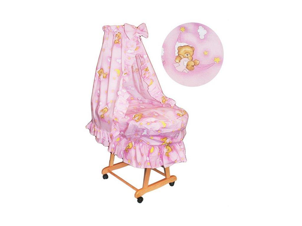 Proutěný košík pro miminko s kompletním vybavením Růžový medvídek