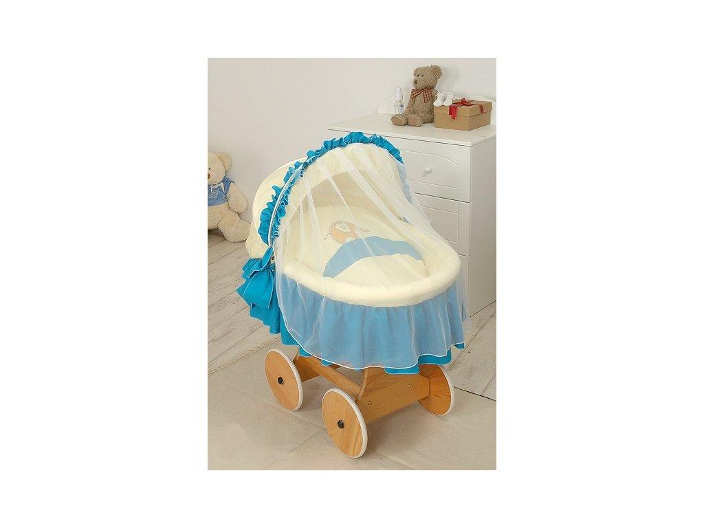Proutěný košík s boudičkou s kompletním vybavením - SLON modrý
