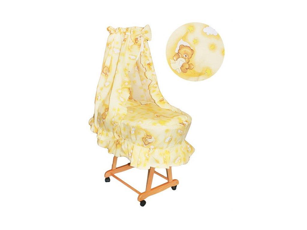 Proutěný košík pro miminko s kompletním vybavením Krémový medvídek
