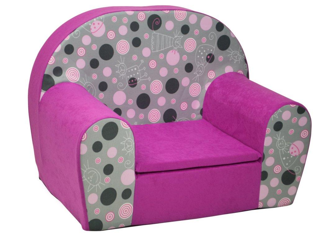 molitanové křesílko růžové kolečka kočky 2RSZ