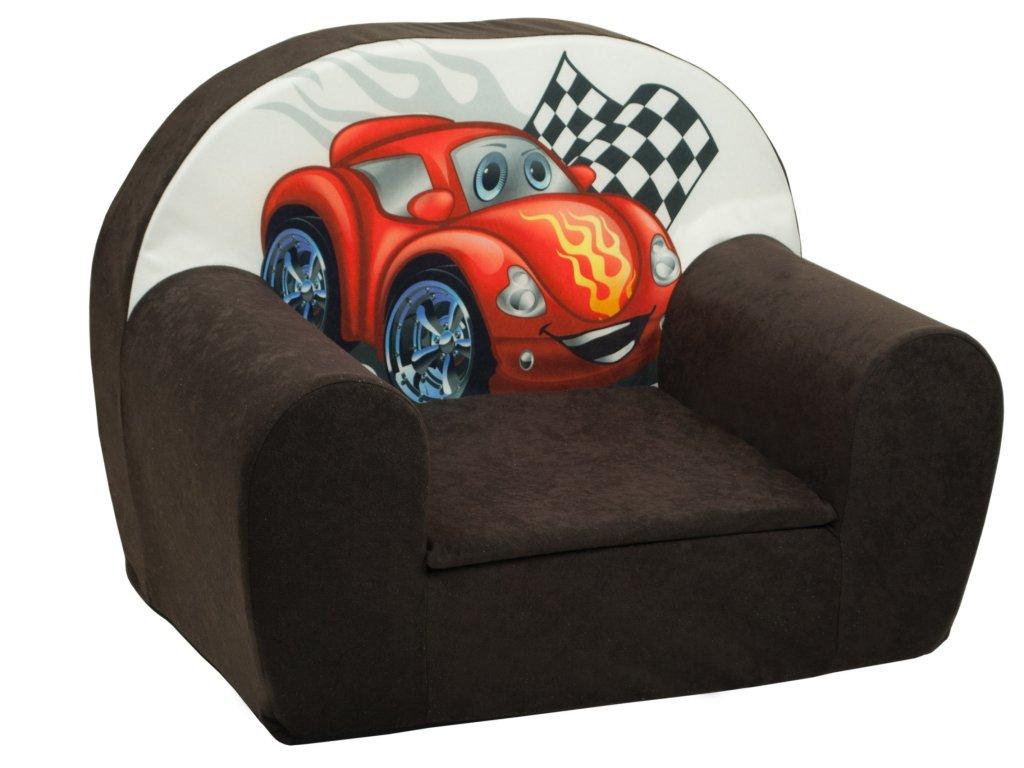 molitanové dětské křesílko hnědé červené auto