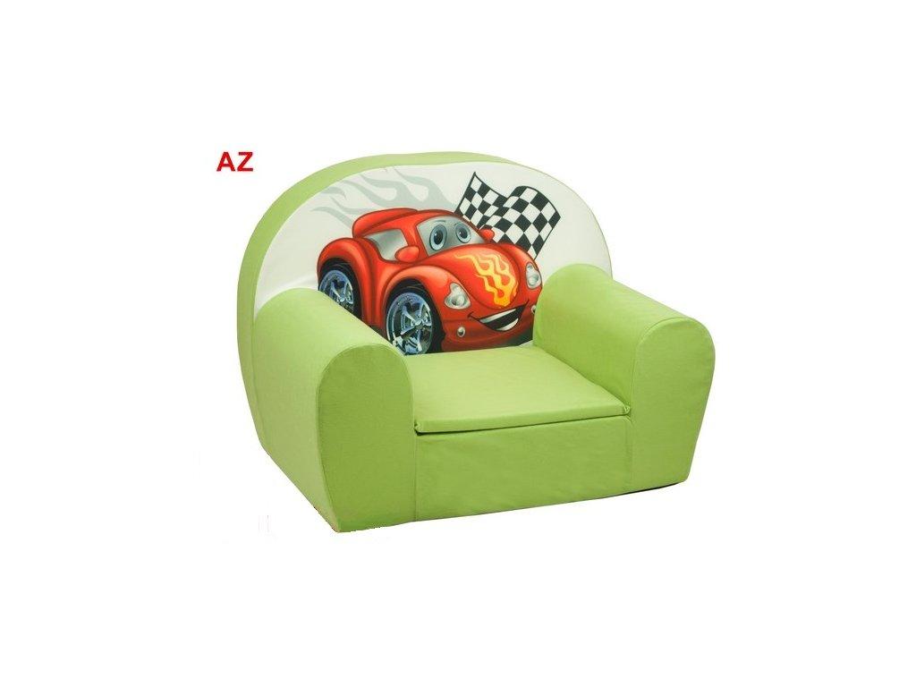molitanové křesílko červené auto zelené