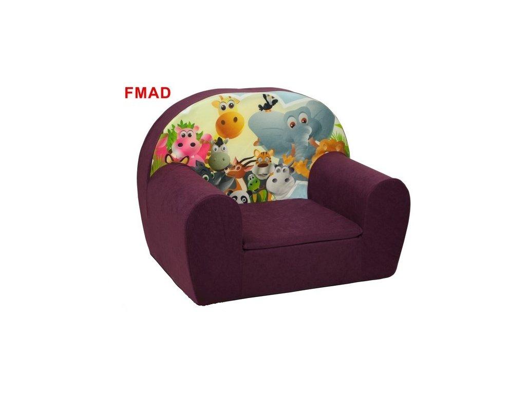 Dětské molitanové křesílko fialové - MADAGASKAR FMAD