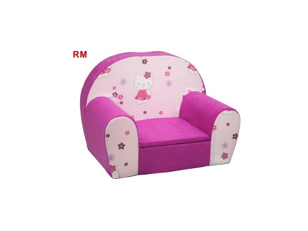 Dětské molitanové křesílko růžové - KOČIČKY  RM