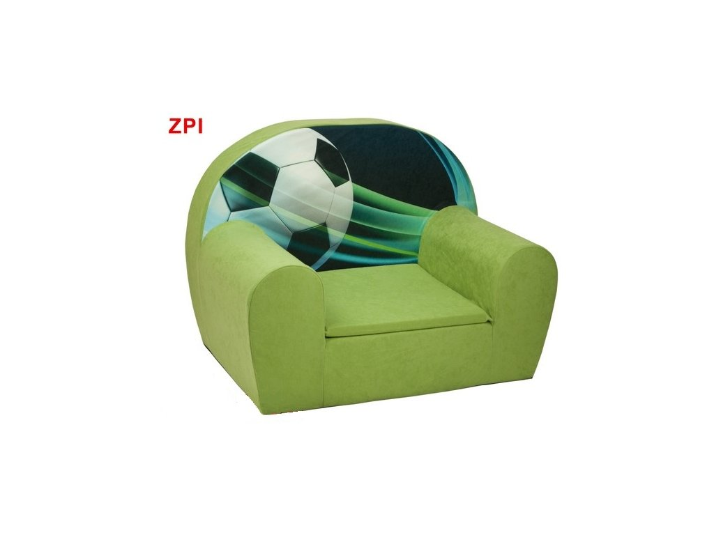 moitanové křesílko fotbal zelené