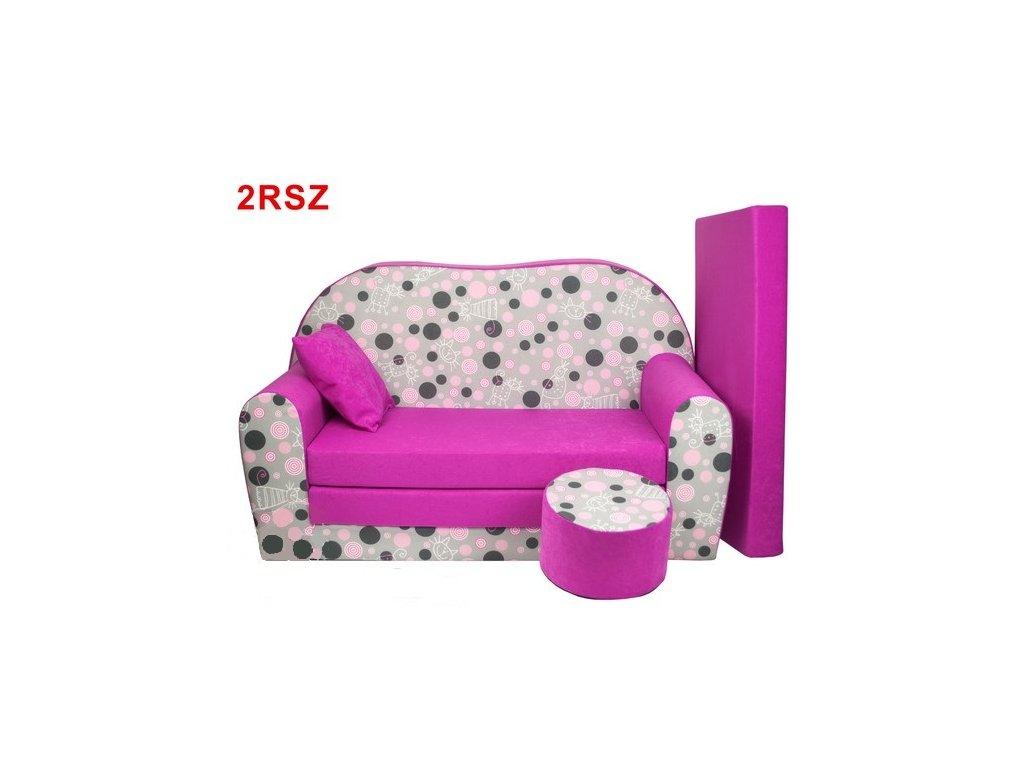 Dětská sedací rozkládací souprava s bobkem růžová KOLEČKA