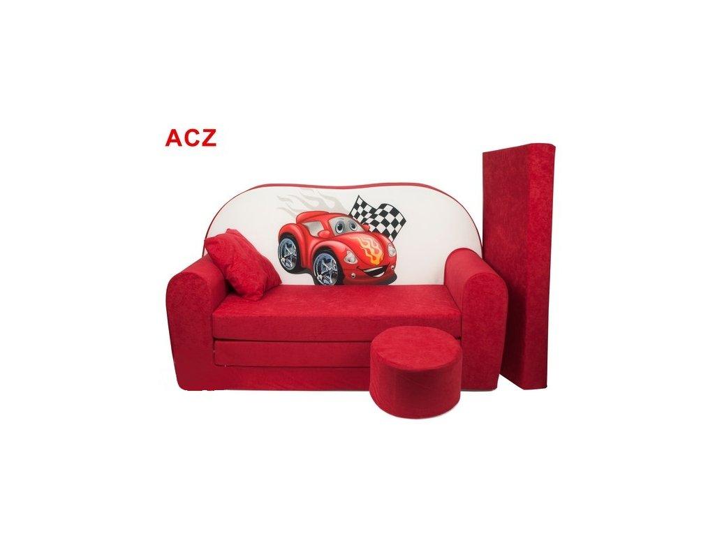 Dětská sedací rozkládací souprava s bobkem červená ČERVENÉ AUTO