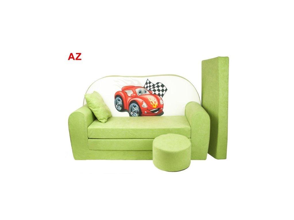 Dětská sedací rozkládací souprava s bobkem zelená ČERVENÉ AUTO