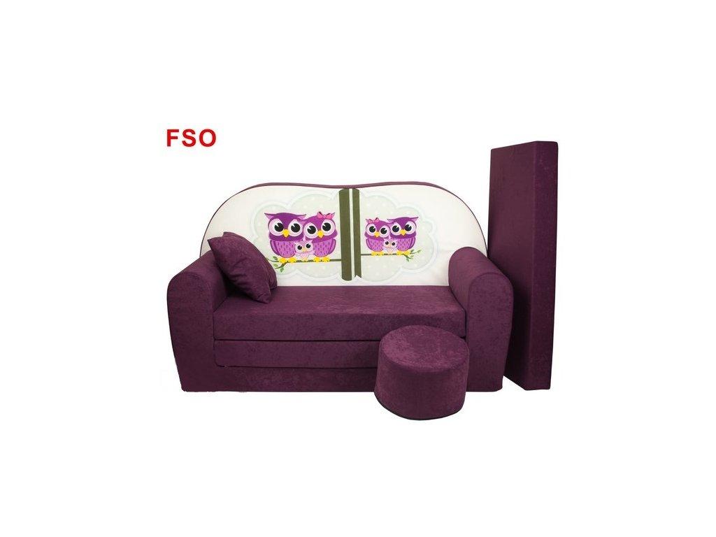molitanová sedačka s bobkem fialové sovy