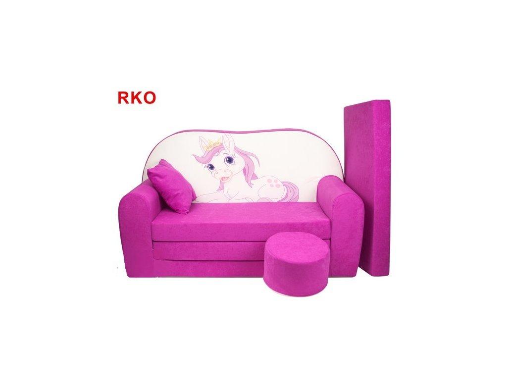 molitanová sedačka koník růžová