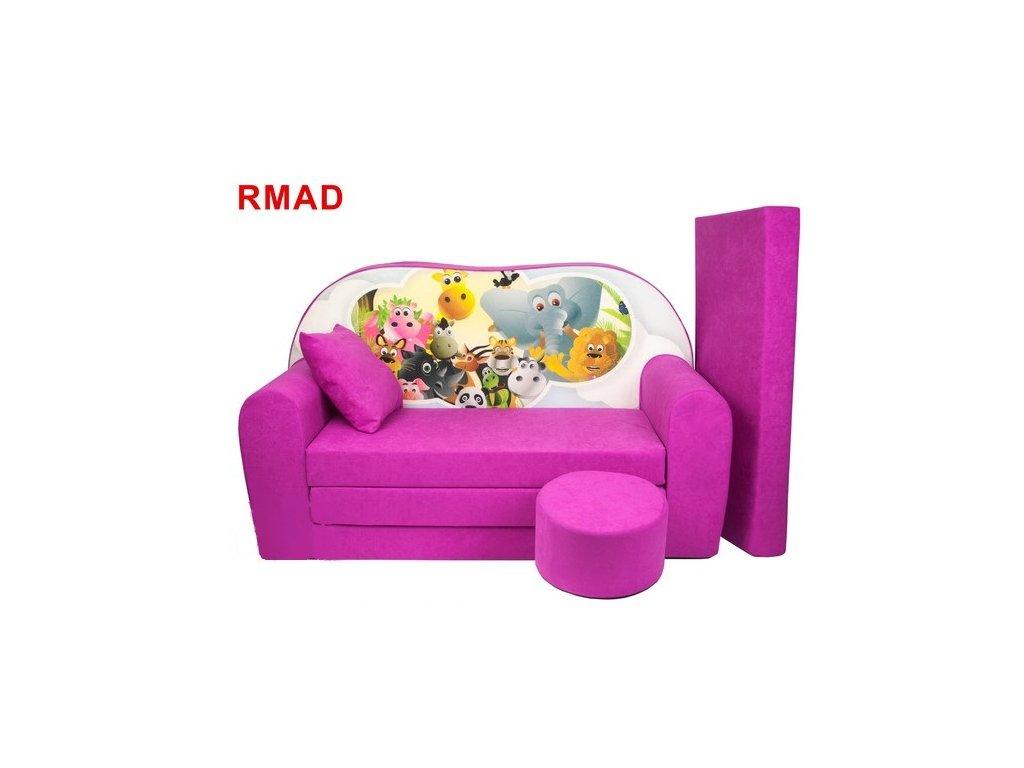 Dětská sedací rozkládací souprava s bobkem růžová - zvířátka RMAD