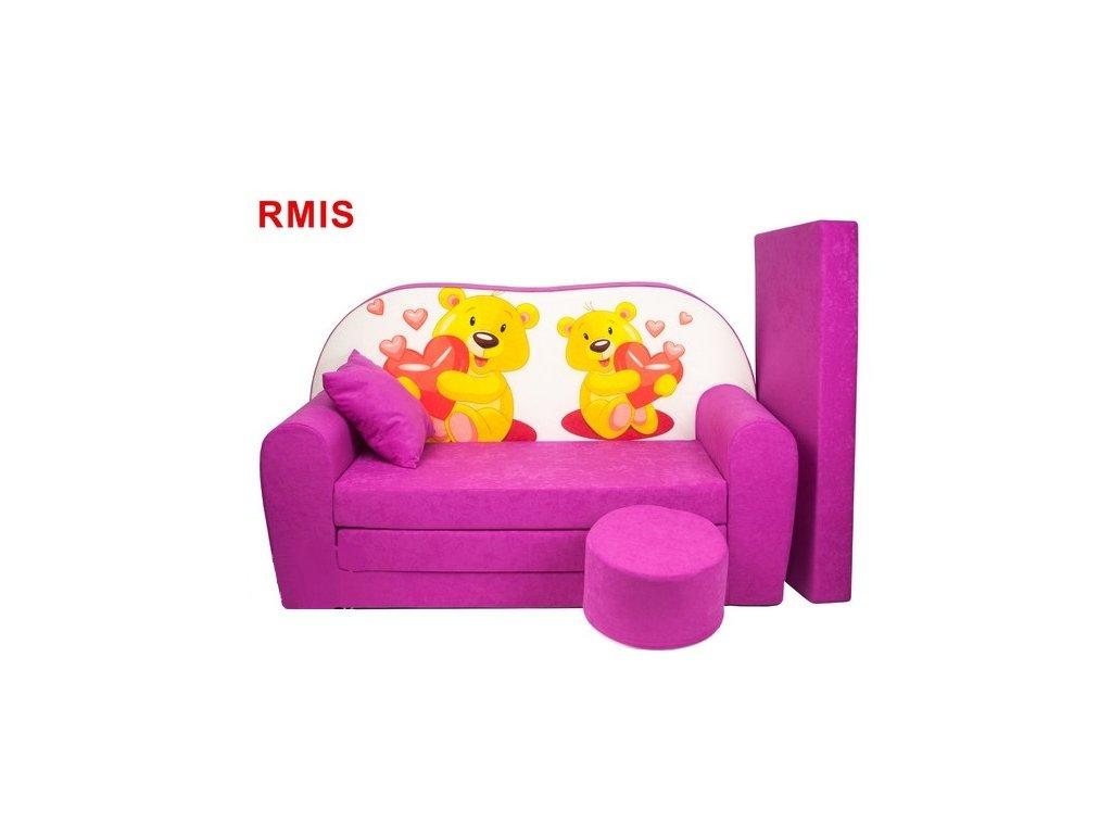 molitanová sedačka s bobkem růžová medvídci se srdcem