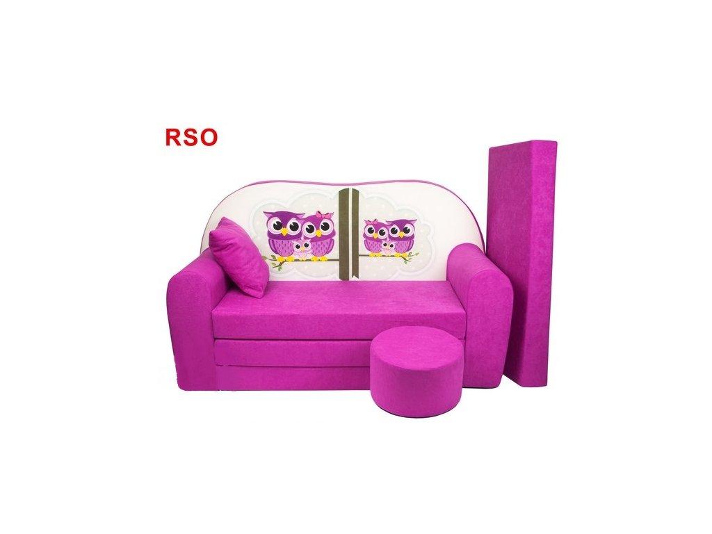 molitanová sedačka s bobkem růžová sovičky