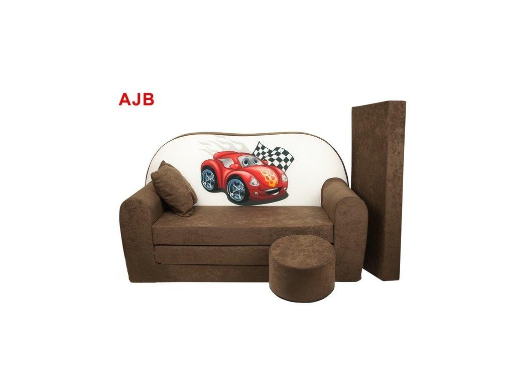 molitanová sedačka červené auto hnědé