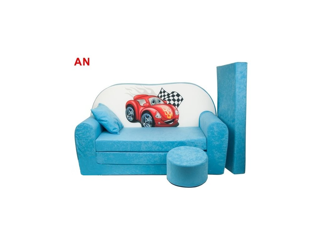 molitanová sedačka červené auto tyrkysová