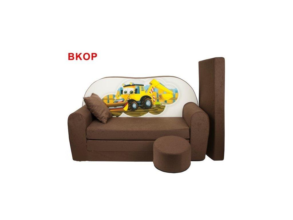 Dětská sedací rozkládací pohovka s bobkem bagr BKOP