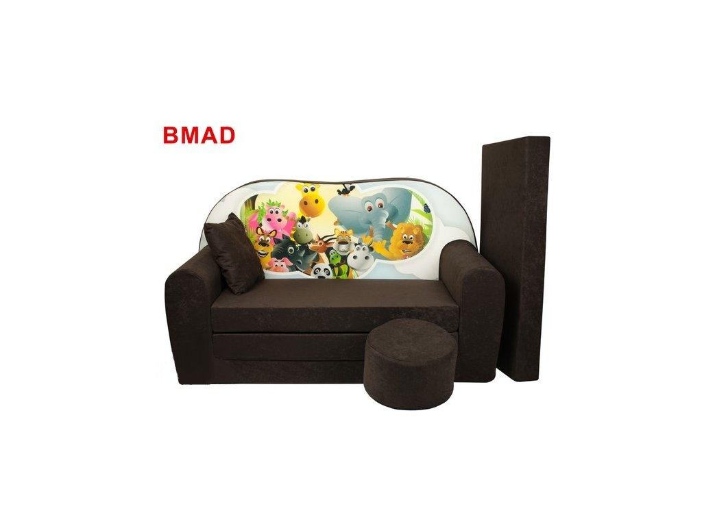Dětská sedací rozkládací souprava s bobkem hnědá MADAGASKAR